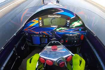 DataMaxx LCD Dash in a dragster going down track