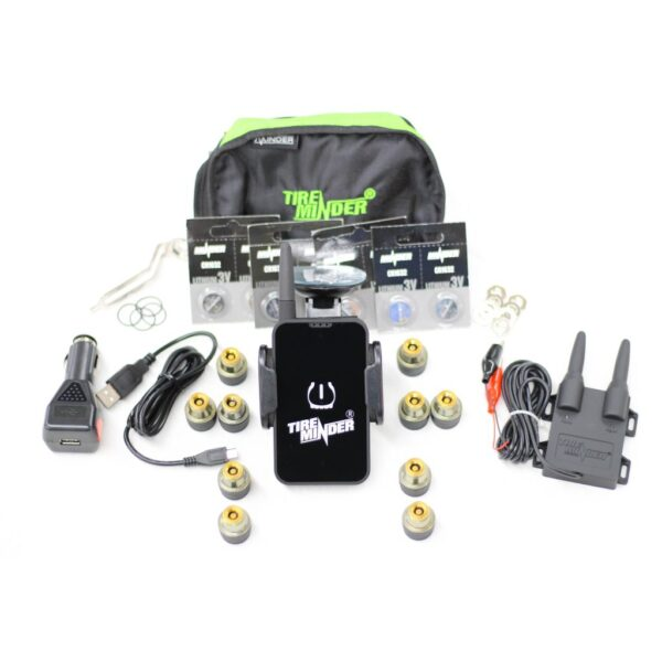 10 Sensor Dual Axle Trailer Tire Pressure Monitor System Kit with iPhone and Android App