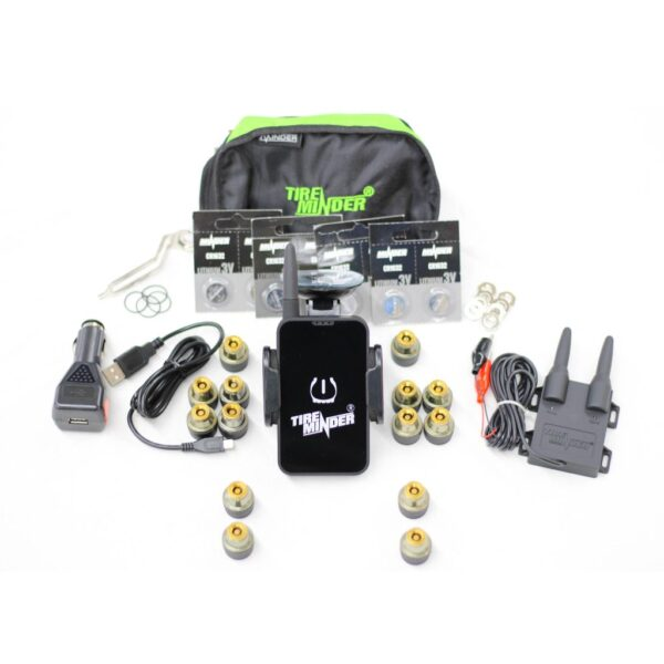 14 Sensor Triple Axle Racing Trailer Tire Pressure TPMS Kit w/ Phone App