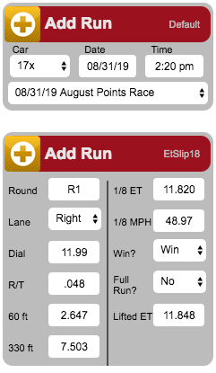 RaceBase Drag Racing Logbook and ET Prediction Software - Add Run Widget