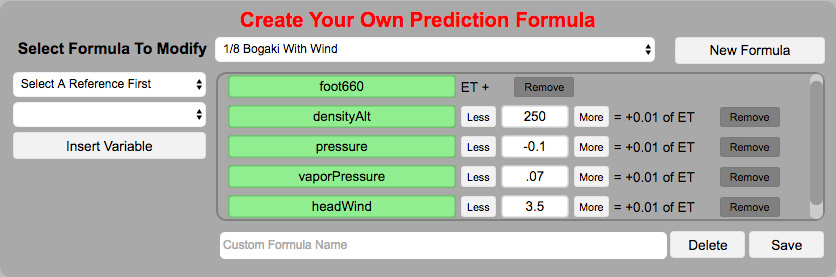 RaceBase Drag Racing Electronic Log Book Software - Create Your Own ET Prediction Formula