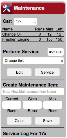 RaceBase Logbook Software - Maintenance